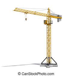 fondo., interpretación, full-height, torre, amarillo, aislado, blanco, grúa