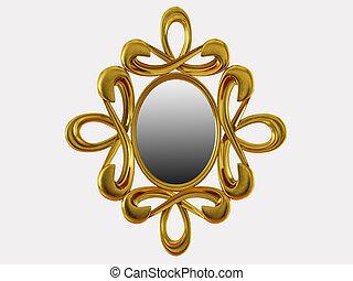 fondo, interpretazione, specchio, modelli, 3d, bianco, dorato