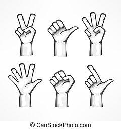 fondo, isolato, gesti, mani umane, bianco