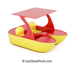 fondo., isolato, interpretazione, bianco, catamarano, 3d