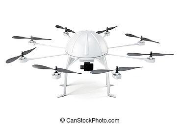fondo., isolato, interpretazione, bianco, multicopter, 3d