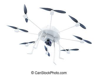 fondo., isolato, interpretazione, macchina fotografica, bianco, multicopter, 3d