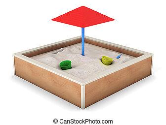 fondo., isolato, interpretazione, sandbox, bianco, 3d
