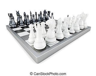 fondo., isolato, interpretazione, scacchi, bianco, 3d