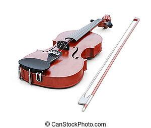 fondo., isolato, interpretazione, violino, bianco, 3d