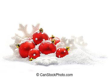 fondo, isolato, neve, ornamenti, natale bianco