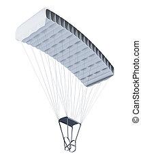 fondo., isolato, paracadute, interpretazione, bianco, 3d