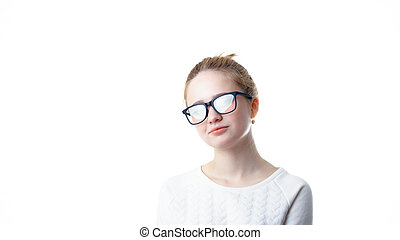 fondo, isolato, preteenager, bella ragazza, bianco, occhiali