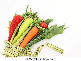 fondo, isolato, verdura, mazzo, bianco