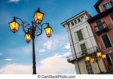 fondo, lampada, strada, cielo