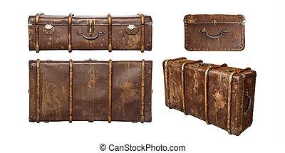 fondo, legno, bianco, set, isolato, valigia, vendemmia