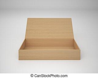 fondo, legno, isolato, 3d, interpretazione, bianco, scatola, vuoto, illustrazione
