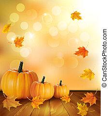 fondo, legno, leaves., autunno, fondo., zucche, vector.