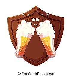 fondo, legno, tazza birra, bianco, scudo