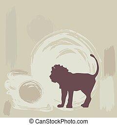 fondo., leone, vettore, grunge, silhouette