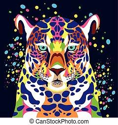 fondo, leopardo, blu, vita selvaggia, technicolor