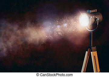 fondo, luce, macchia, fumo nero, palcoscenico, 3d