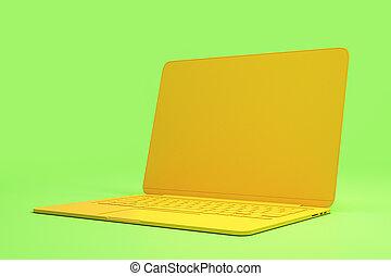 fondo., luce, materiale, onepiece, singolo, minimo, verde giallo, concetto, laptop