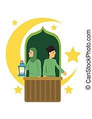 fondo., luna blanca, musulmán, creciente, caricatura, pareja...