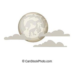 fondo, luna piena, nubi bianche