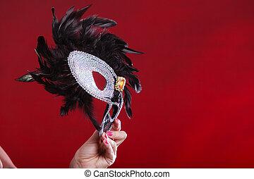 fondo., máscara, rojo