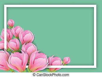 fondo, magnolia, orizzontale, disegno