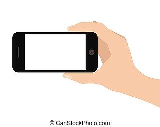 fondo, mano, telefono, presa a terra, bianco, far male
