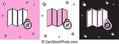 fondo., mappa, foresta nera, rosa, vettore, icona, isolato, set, bianco, illustrazione, posizione