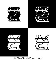 fondo., mappa, foresta nera, vettore, icona, bianco, isolato, set, illustrazione, posizione