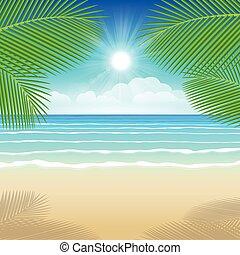 fondo, mare, sabbia, e, noce di cocco, alberi.