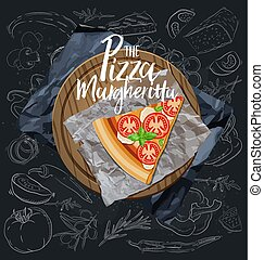 fondo., margherita, rebanada, vector., pizza