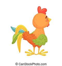 fondo., marrón, ilustración, stands., vector, gallo, ...