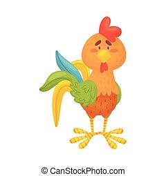 fondo., marrón, ilustración, vector, gallo, blanco, standing...