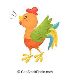 fondo., marrón, ilustración, vector, gallo, crowes., blanco...