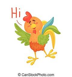 fondo., marrón, ilustración, welcomes., vector, gallo, ...