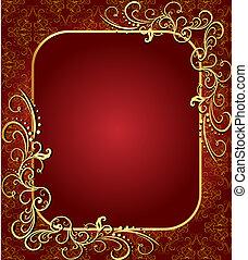 fondo, marrone, cornice, gold(en)(en), campione