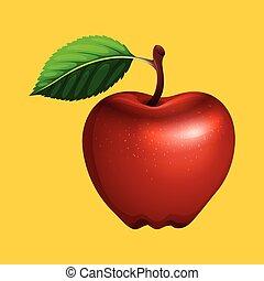 fondo, mela, giallo, rosso
