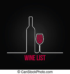 fondo, menu, elenco, vetro, disegno, bottiglia, vino