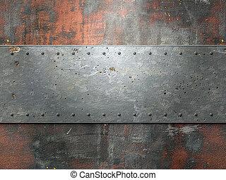fondo, metallo, chiodi, struttura