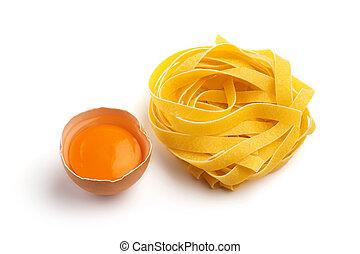 fondo, mezzo, pasta, uovo bianco, italiano