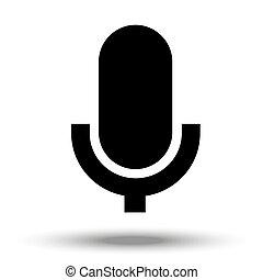 fondo., micrófono, blanco, aislado, icono