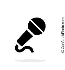 fondo., microfono, bianco, cavo, icona