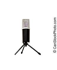 fondo., microfono, bianco, isolato