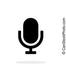 fondo., microfono, bianco, retro, icona