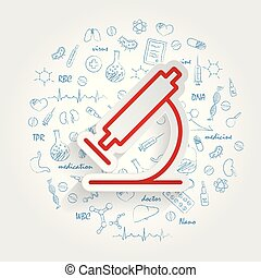 fondo., microscopio, vettore, sanità, handdrawn, doodles, icona