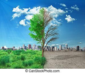 fondo., mitad, árbol, posición, estación, changes., ciudad, excepto, concepto, muerto, environment., vivo