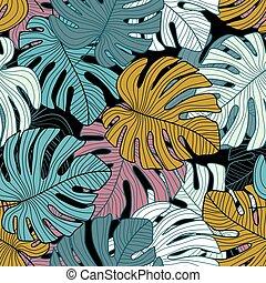 fondo., modello, seamless, nero, tropicale, foglie