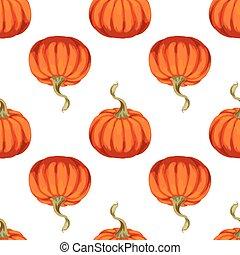 fondo., modello, trendy, seamless, struttura, verdura, vettore, zucche, arancia, bianco, tuo, design.