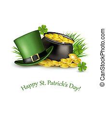 fondo, monete oro, patrick's, vettore, verde, cauldron., santo, cappello, giorno, illustration.