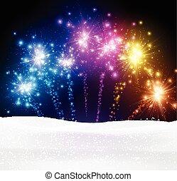 fondo., natale, festivo, firework
